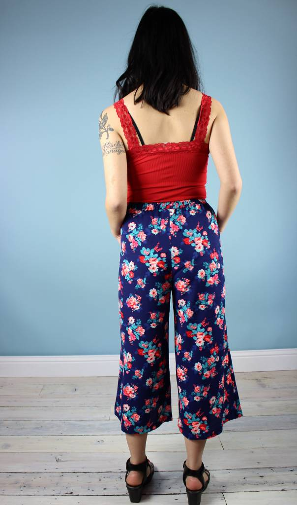 Sarah Bibb Gemma Cropped Palazzo Pants- Blue Floral