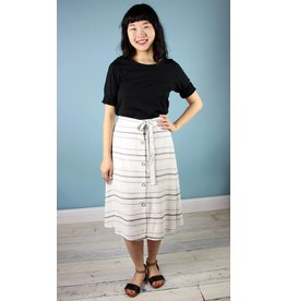 Button-Up A-Line Skirt - Summer Stripe