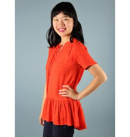 Millie Short Sleeve Ruffled Tunic - Flame