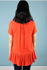 Millie Short Sleeve Ruffled Tunic - Flame