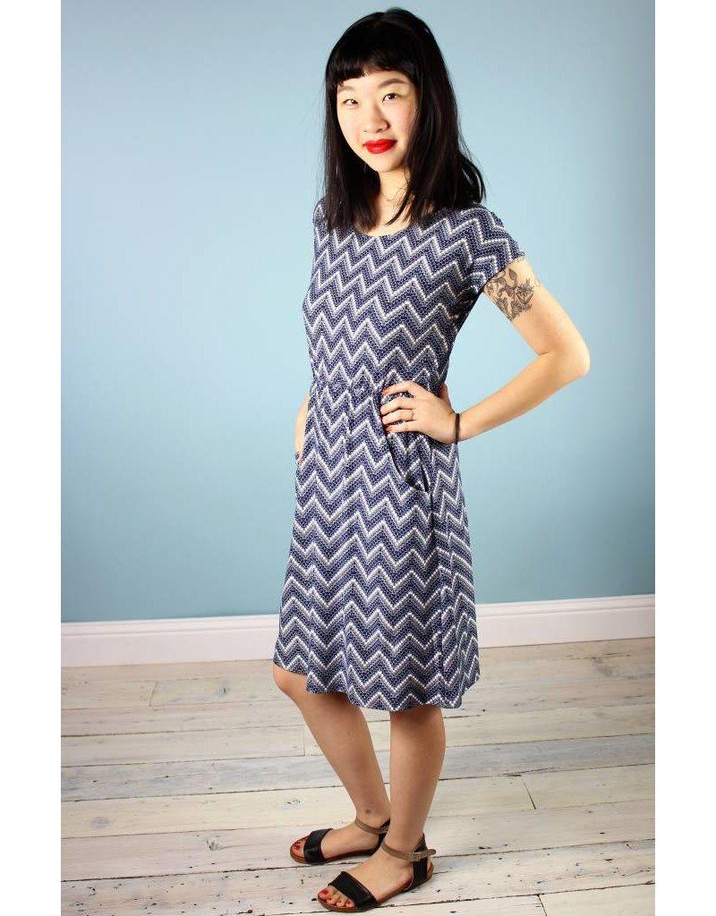 Sarah Bibb Jamie Dress - Navy Chevron