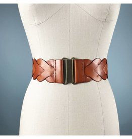 Elise M. Braided Waist Belt - Cognac