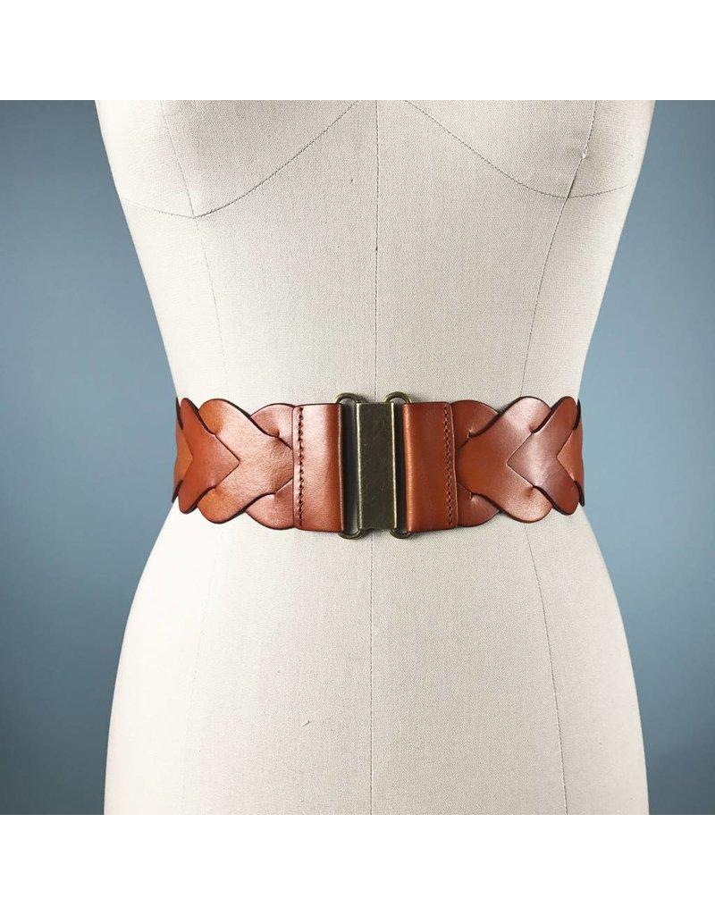 Elise M. Braided Waist Belt - Cognac