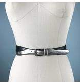 Elise M. Two Tone Waist Belt - Silver/Black