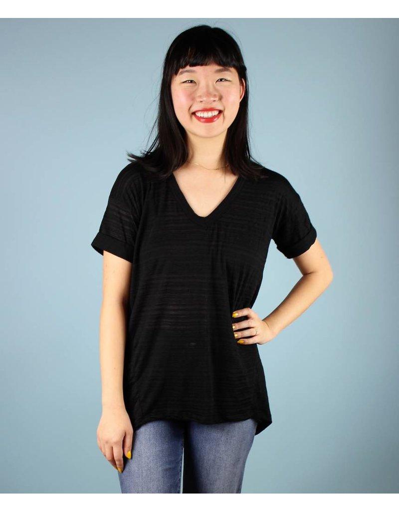 Burnout Stripe Tunic Tee - Black