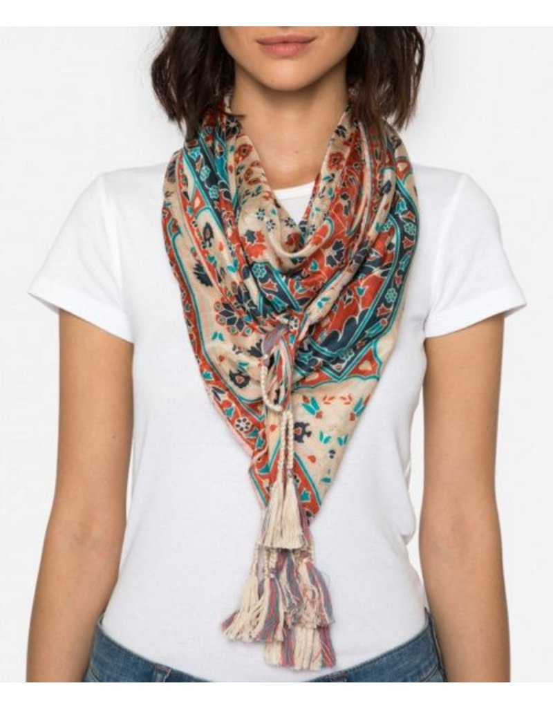 Johnny Was Silk Tassel Scarf - Myra