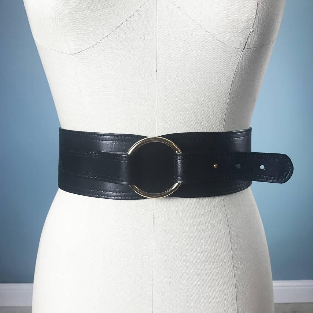 Elise M. Ring Closure Waist Belt - Black