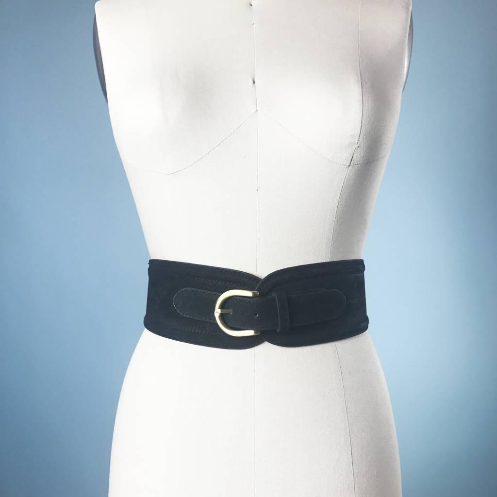 Elise M. Suede Waist Belt - Black