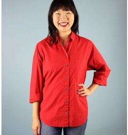 Velvet Teri Button Down - Fire