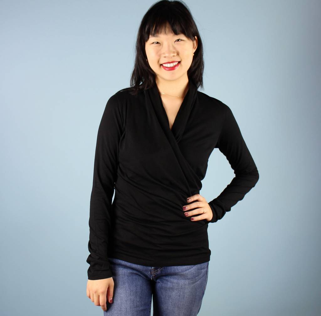 Brigid Wrap Top - Black