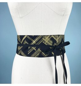 Sarah Bibb Obi Belt  - Black & Gold Chevron