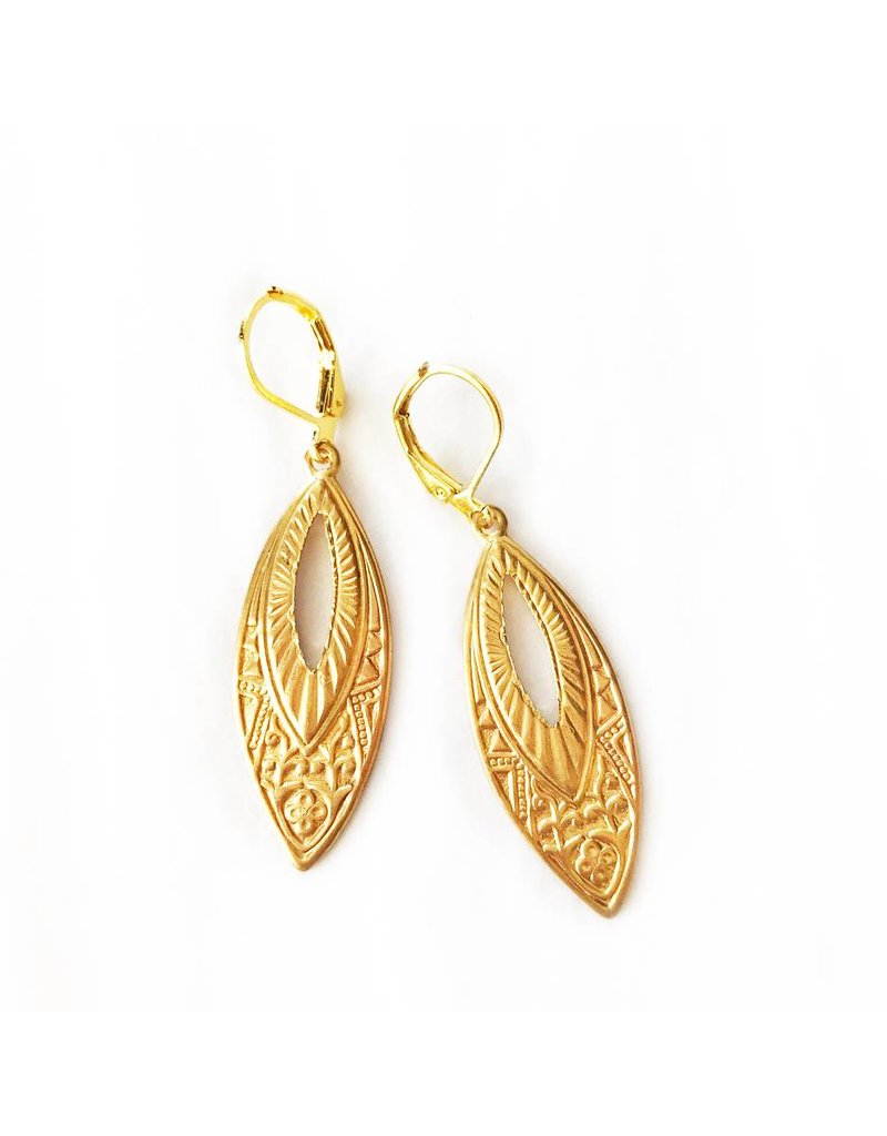 Nicole Weldon Brass Marquise Disc Earrings
