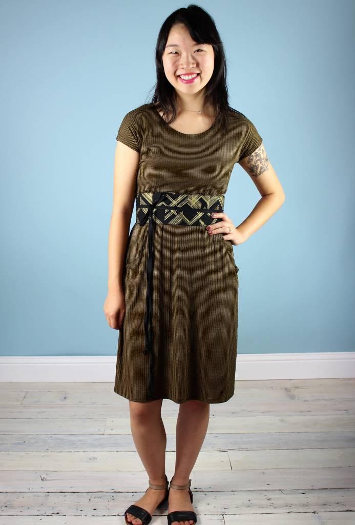 Sarah Bibb Jamie Dress -GOLD/Blk Mini Stripe