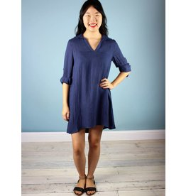 Shelly Collar Tunic - Navy