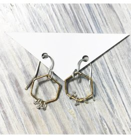 Kiersten Crowley Freya Hex Earrings- Silver/Brass
