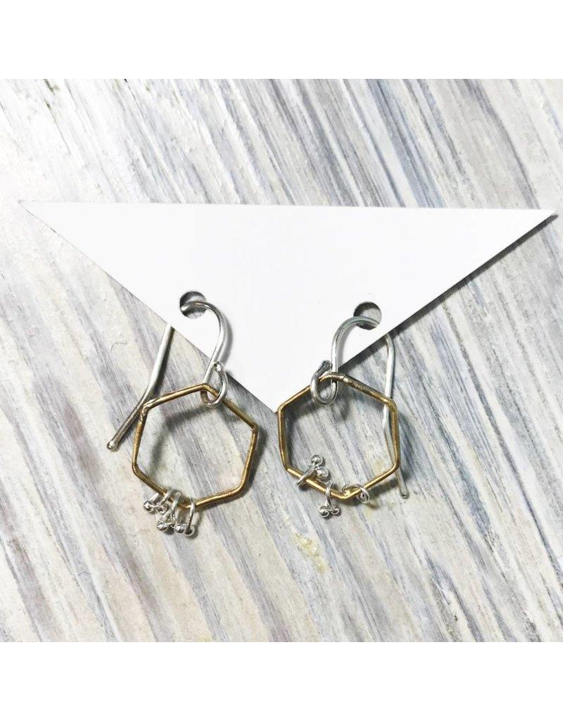 Kiersten Crowley Freya Hex Earrings- Silver/Brass
