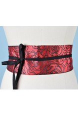 Sarah Bibb Obi Belt- Red with Black Rose
