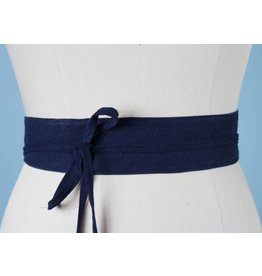 Sarah Bibb Mini Obi Belt- Navy Linen