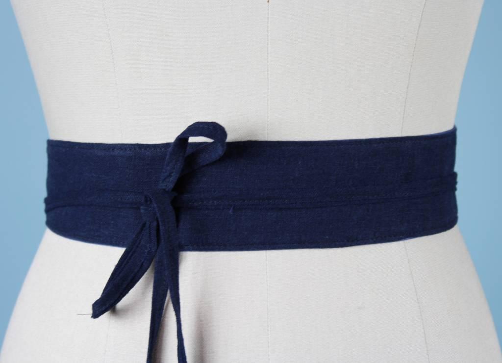 Sarah Bibb Mini Obi Belt- Navy Linen