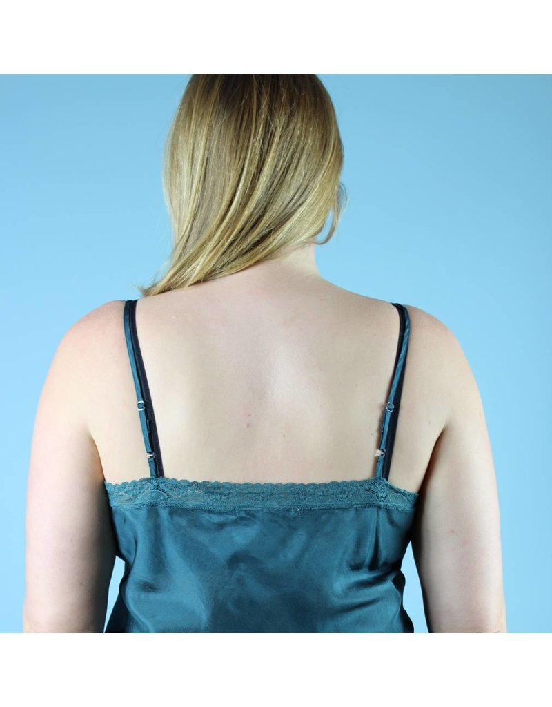 Johnny Was Silk Lace Trimmed Camisole - Teal