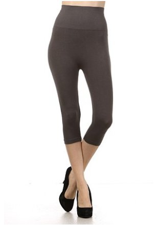 M Rena Tummy Tuck Cropped Leggings by M Rena -Dark Grey