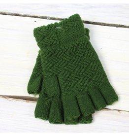 Fingerless Gloves - Olive Waffle
