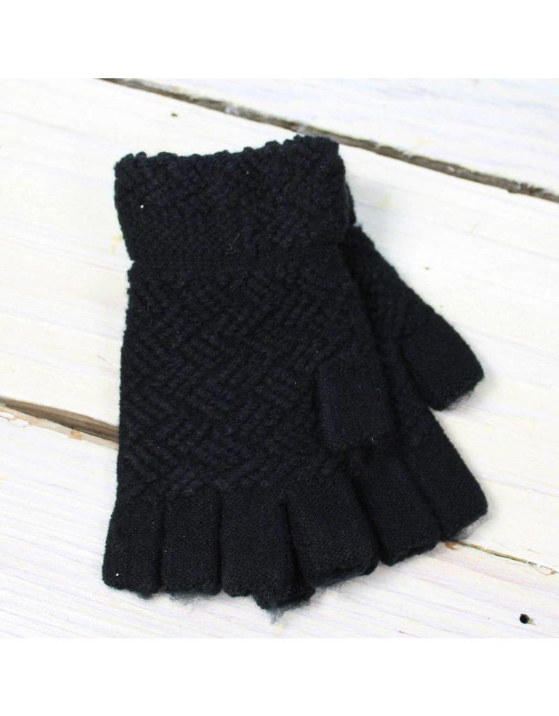 Fingerless Gloves - Black Waffle