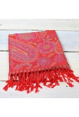 Soft Paisley Scarf- Ruby
