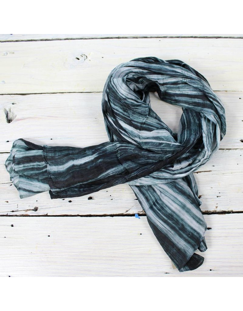 Watercolor Silk Scarf- Ivory/Blk