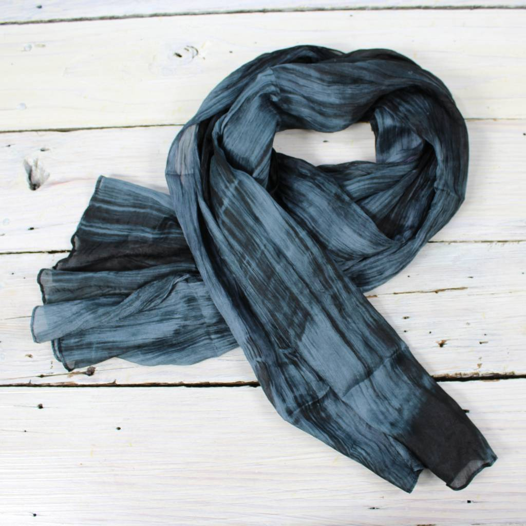 Watercolor Silk Scarf- Charcoal/Blk