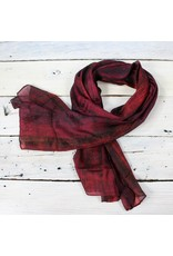 Watercolor Silk Scarf- Wine/Blk