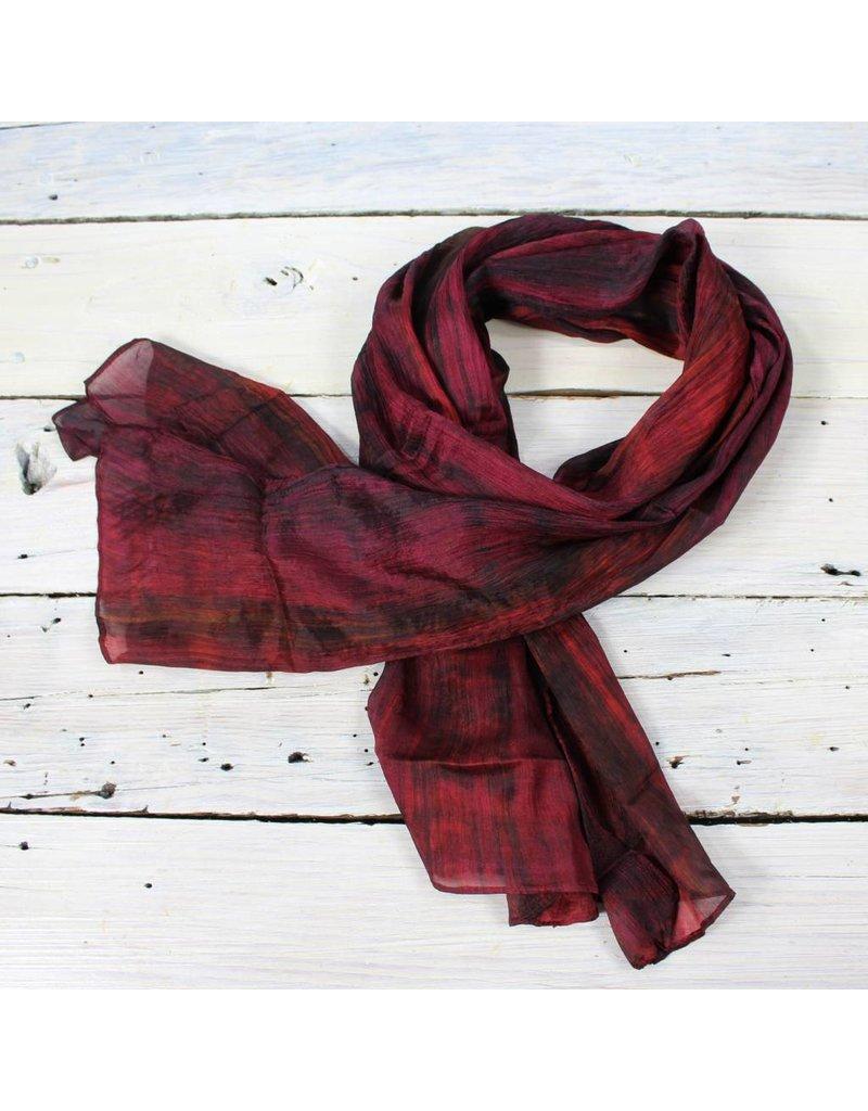Watercolor Silk Scarf- Wine/Blk