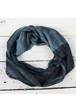 Single Loop Infinity Silk Scarf - Charcoal/Blk