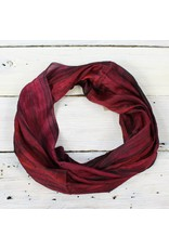 Single Loop Infinity Silk Scarf - Wine/Blk
