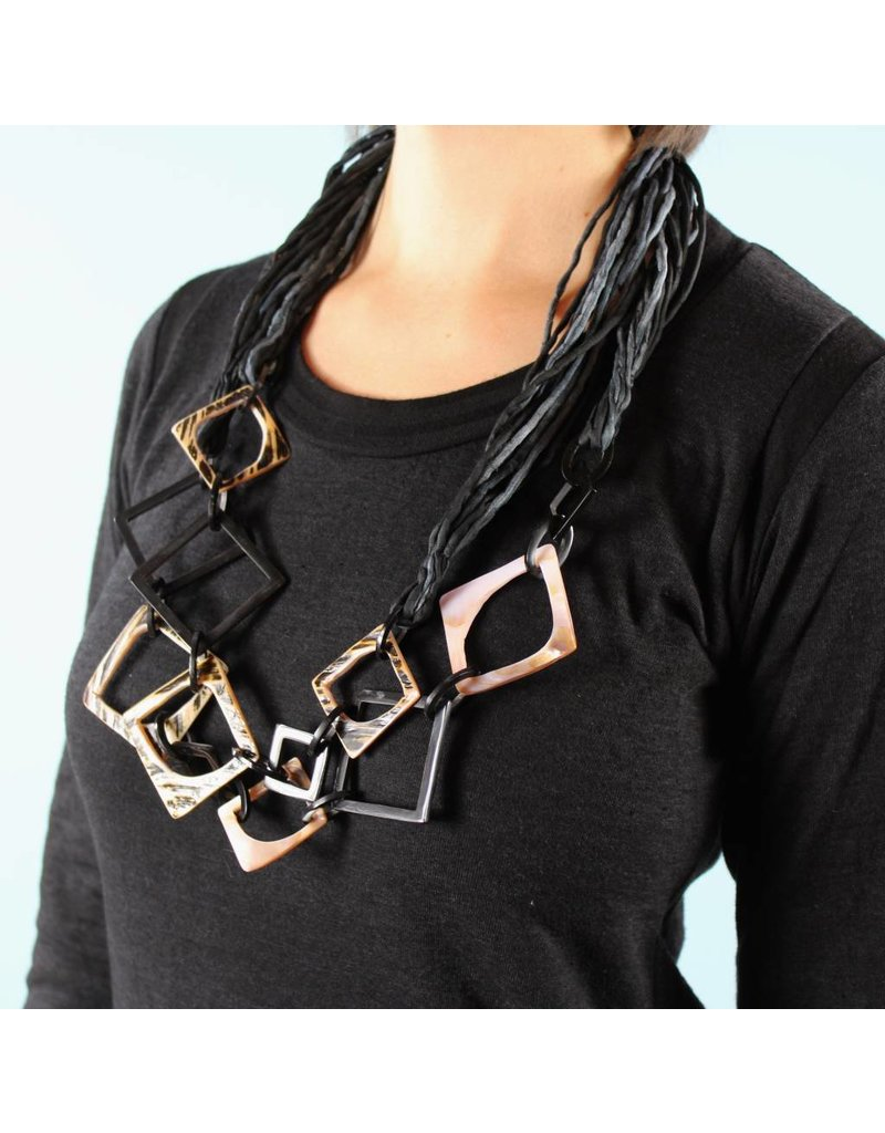 Mother of Pearl Corded Necklace - Charcoal