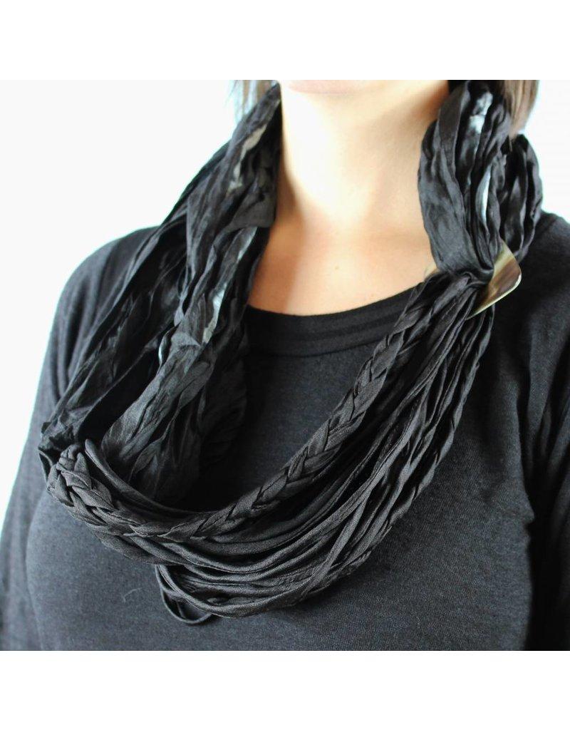 Braided Scarf Necklace - Black