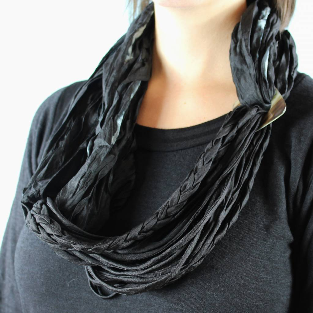 Braided Scarf Necklace - Black