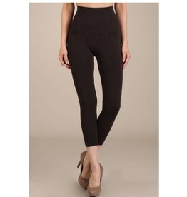 M Rena Tummy Tuck Cropped Leggings  - Brown