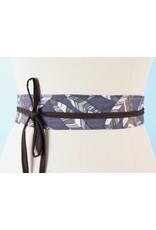Sarah Bibb Mini Obi Belt- Grey Leaf/Brown Tie