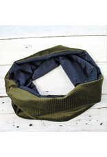 Sarah Bibb Single Loop Infinity Scarf - Olive Pin Velvet/Navy