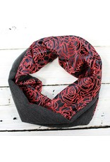 Sarah Bibb Single Loop Infinity Scarf - Blk Roses/Charcoal