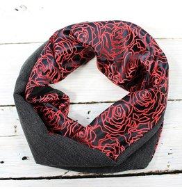 Sarah Bibb Single Loop Infinity Scarf - Blk Roses/Charcoal
