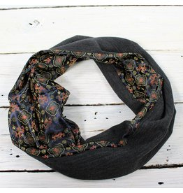 Sarah Bibb Single Loop Infinity Scarf - China Dragon/Charcoal