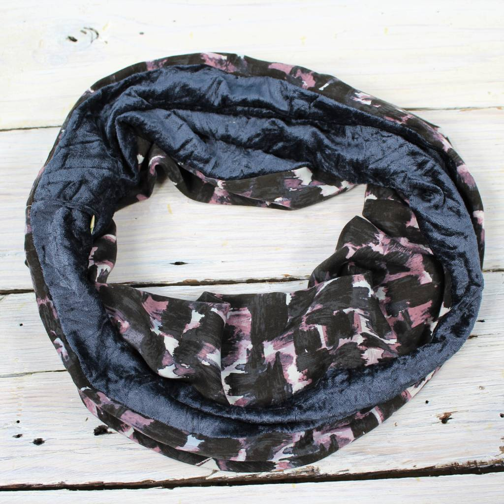 Sarah Bibb Single Loop Infinity Scarf - Painterly/Blue Velour
