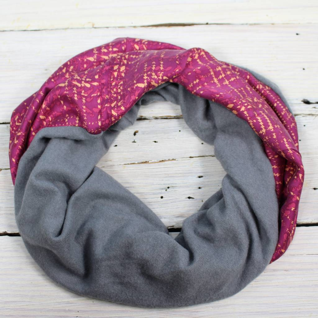Sarah Bibb Single Loop Infinity Scarf - Grid/Fleece