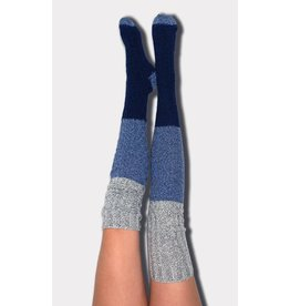Peony & Moss Thigh High Sweater Socks - Color Block