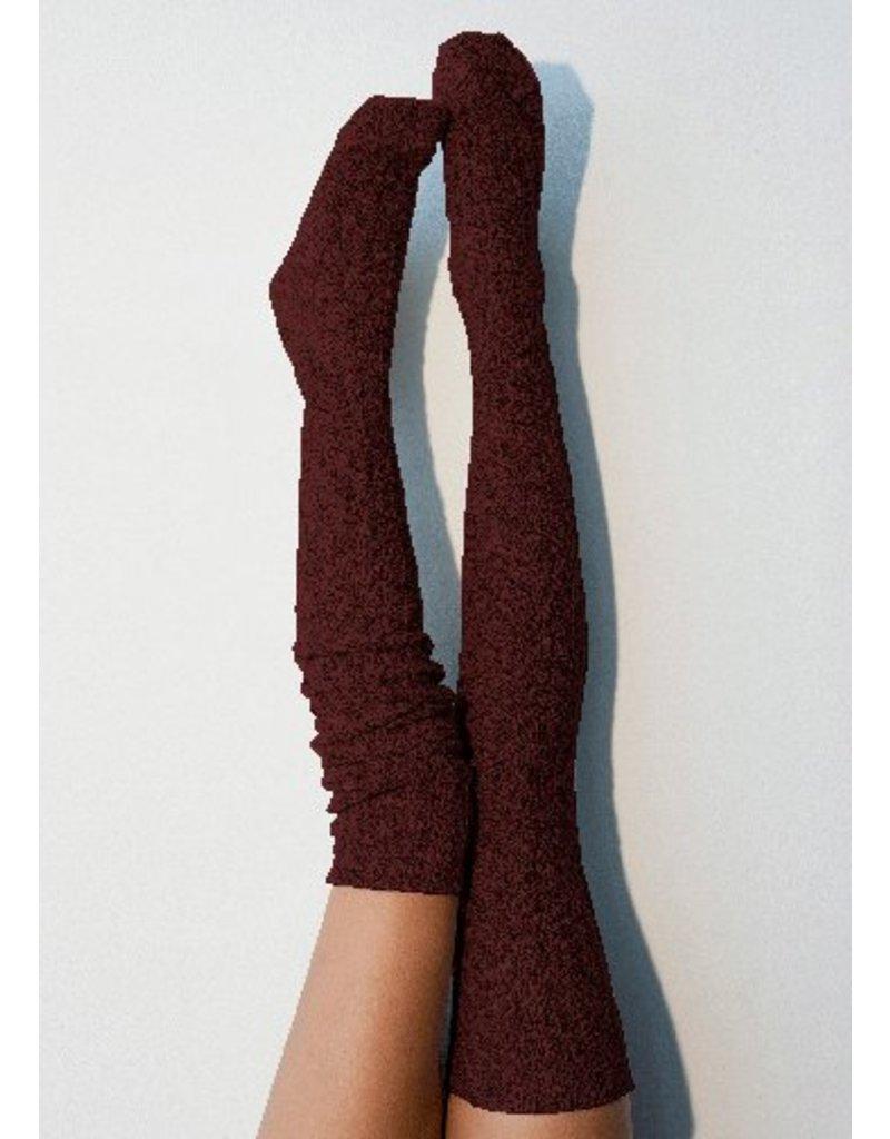 Peony & Moss Thigh High Sweater Socks - Wine