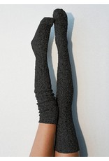 Peony & Moss Thigh High Sweater Socks - Carbon