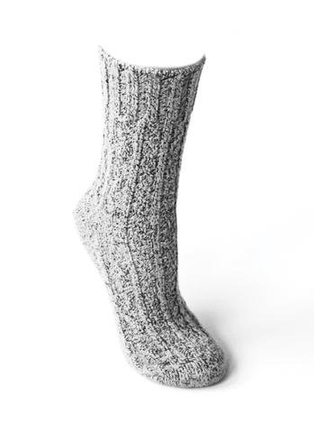Peony & Moss Cozy Crew Sock - Salt n Pepper