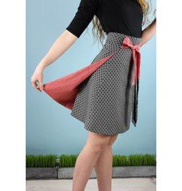 Sarah Bibb Hyla Reversible Wrap - Red Link/Fan